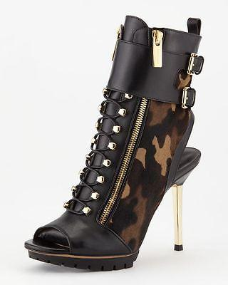 $795 Michael Kors Ankle Black Camouflage Peep-Toe Boots Booties 37.5 Gold Heel