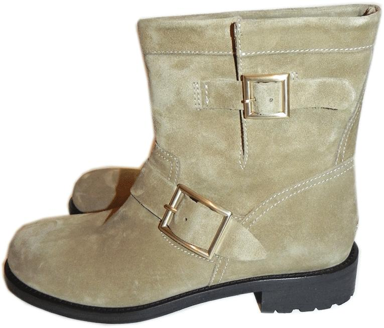 $1050 Jimmy Choo Antelope Suede Biker Youth Ankle Motorcycle Boots Booties 39- 9