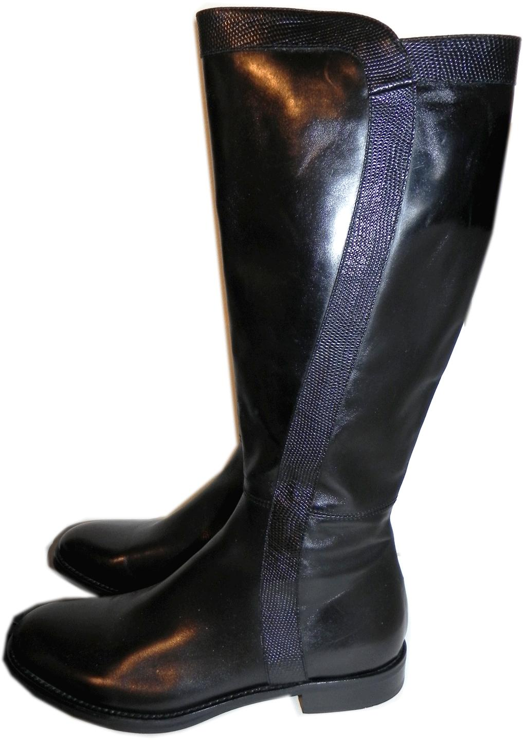 $580 AGL Attilio Giusti Leombruni Tall Knee Black Boots Riding Booties 9 - 39