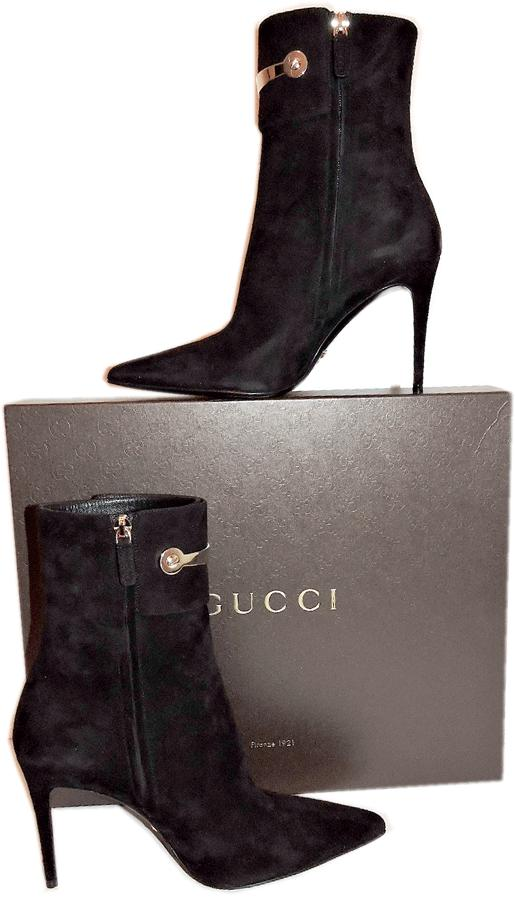 7580e4ec7 Gucci Black Rooney Horsebit Ankle Suede Pointy Toe Boots Booties 36.5- 6.5