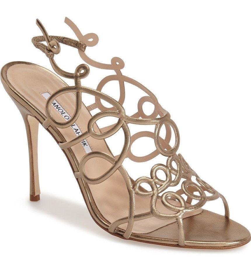 $995 Manolo Blahnik Gori Cage Sandals Slingback Pump Shoe 39.5 Metallic Bronze