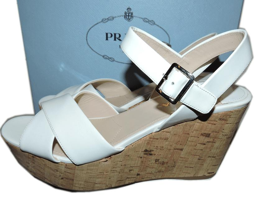 $690 Prada Ankle Strap Wedge Cork Espadrille White Sandals Beige Patent Shoes 39