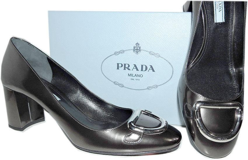 Prada Anthracite Patent Leather Mid- Chunky Heel Silver Buckle Pump 40 - 9 New - Click Image to Close