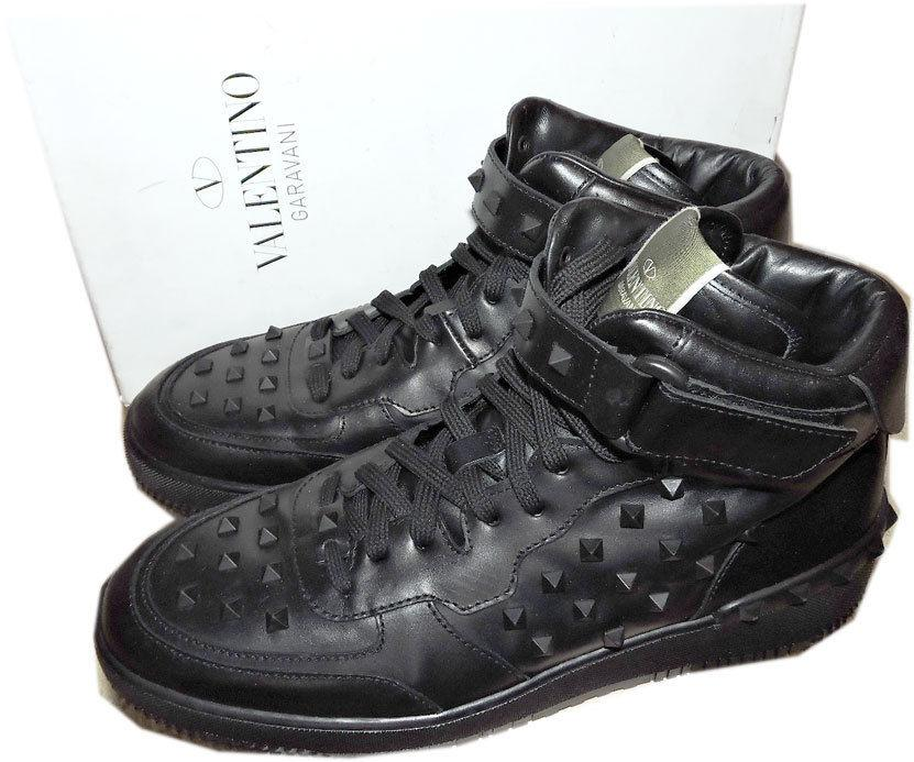Valentino High Top Rockstuded Black Leather Sneakers Shoes 46 -12