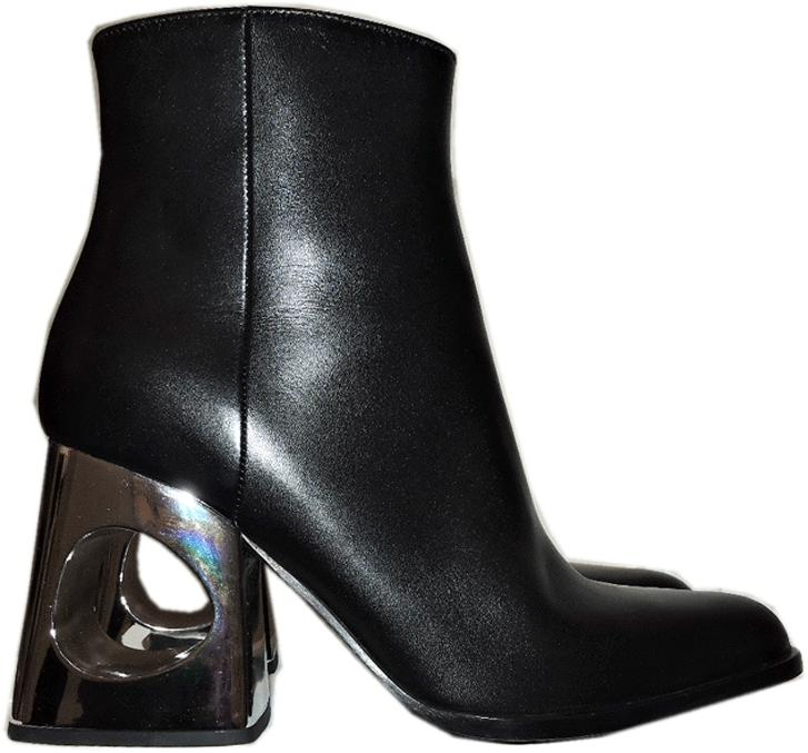$1030 Marni Ankle Booties Flat Black Leather Zipper Boots Silver Heel 36