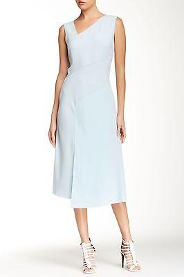 $398 Elie Tahari Annika Dress White-Mint Mid Length Asymmetrical Fitted Sz. 8