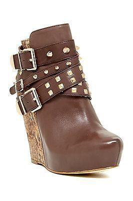 Bcbg Generation Aspen Ankle Wedge Leather Studded Boot Buckle Bootie 37 - 7