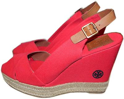 Tory Burch Red Linen Wedge Espadrille Sandal Slingback Shoe 8.5 - 38.5 Beller