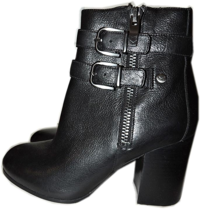 $325 Via Spiga Black Double Strap Buckle Ankle Boots Chunky Heel Booties 7