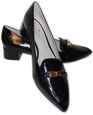 Kate Spade Yvonne Loafer Pointed Toe Gold Bow Pump Shoe 36- 6 Black Patent