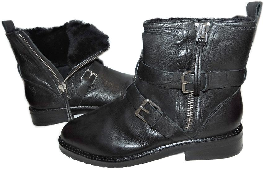 $395 Rebecca Minkoff Griffin Shearling Fur-Lined Flat Riding Boot Bootie 8.5