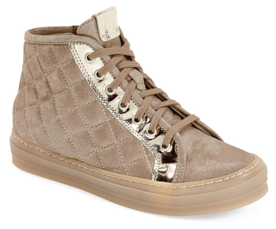$440 Agl Attilio Giusti Leombruni Quilted Shimmer Sneakers High Top Shoe 38.5