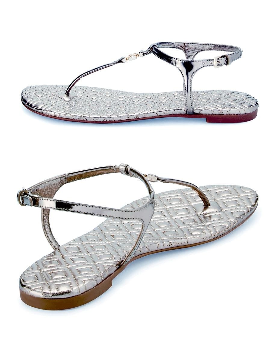 f2c5fa2a624cc Tory Burch Thongs Marion Silver Quilted Sandal Leather Flip Flop 7.5 Slide