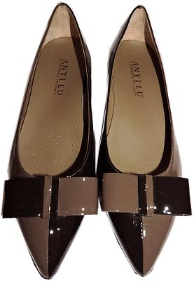 $445 Anyi Lu Black Delia Bicolor Bow Pointy Toe Flats Ballet Ballerina Shoe 38-8