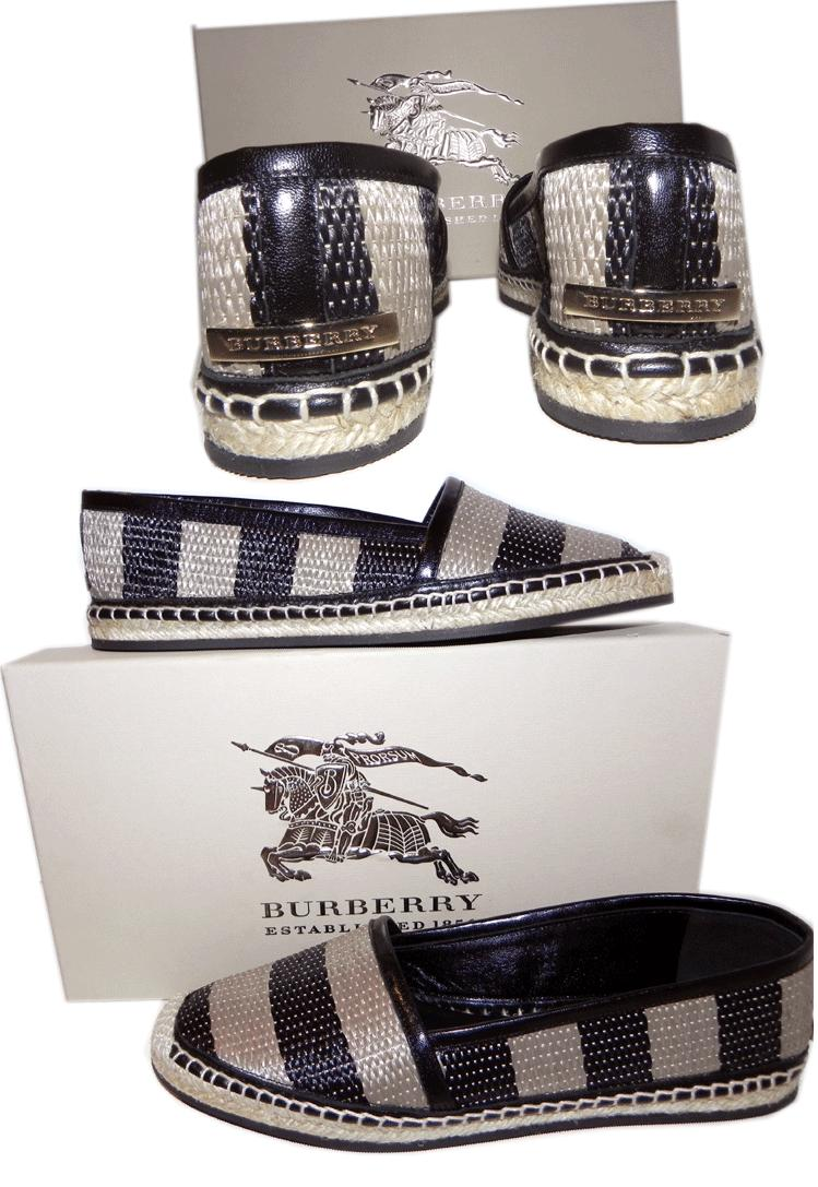 Burberry Hodgeson Woven Raffia Espadrille Stripe Flat Ballet Moccasins Flat 37.5