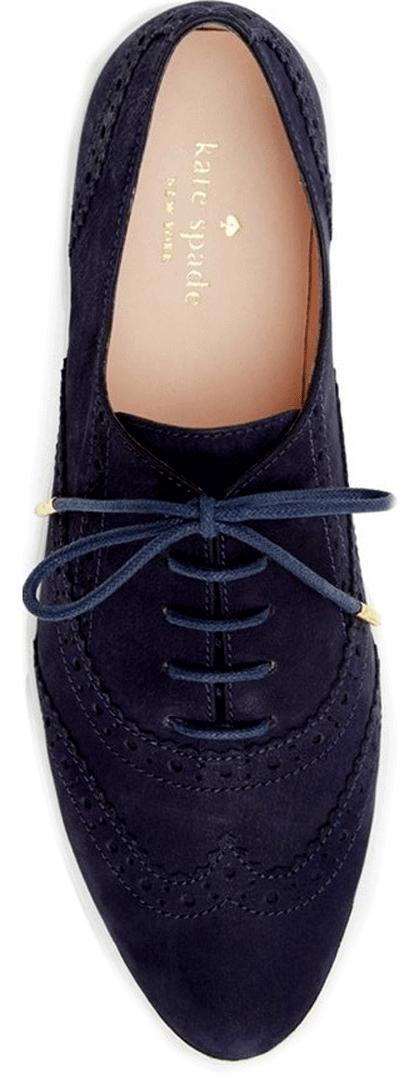 Kate Spade New York Catlyn Navy Blue Suede Brogue Sneaker Oxfords Flat Shoe 9.5 - Click Image to Close