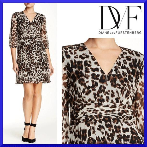 $428 Diane Von Furstenberg A Line Dress Snow Cheetah Large Silk Dvf 4 - S