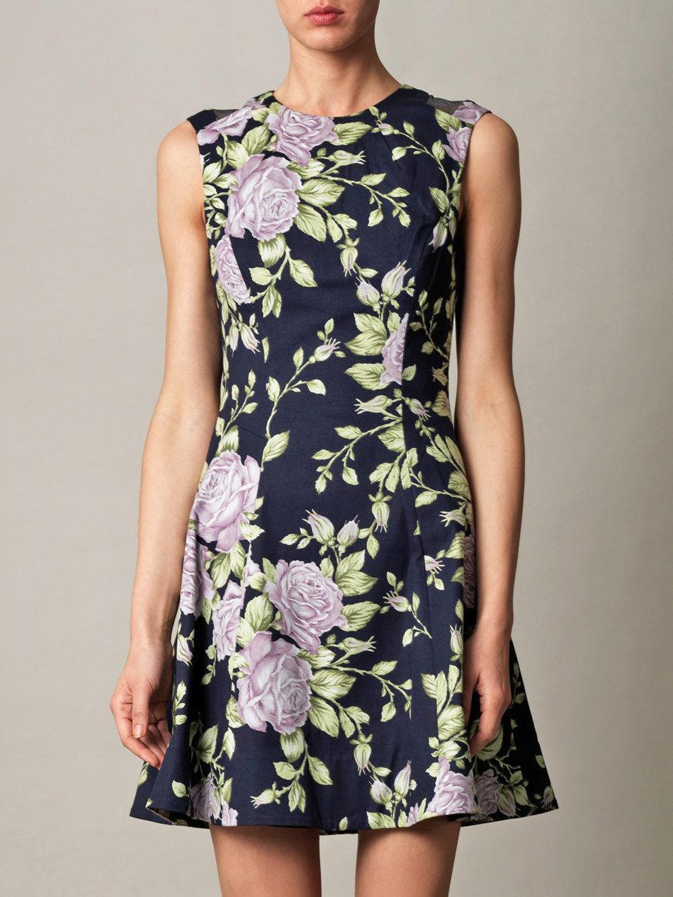 $475 RAG & BONE Ruby Floral Print A-Line Dress Fit & Flare Size 8- M Navy