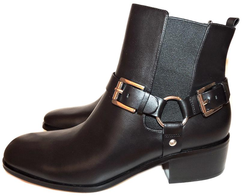 Michael Kors Black Harrison Ankle Harness Leather Chelsea Boots Booties 10