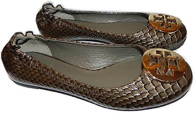Tory Burch Reva Ballerina Flat Snake Patent Leather Ballet Shoe Gold Logo 5- 35