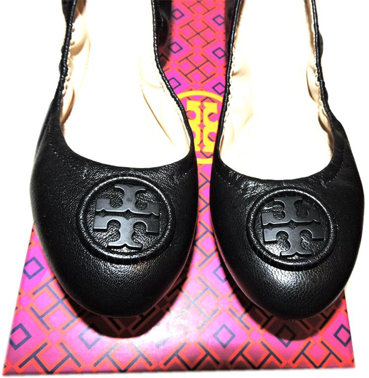 Tory Burch Allie Ballerina Flats Black Logo Minnie Reva Leather Ballet Shoe 5.5