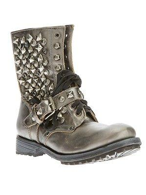 $385 Ash 'ryanna' Studded Boot Metalic Grey Leather Biker Lace Up Bootie 6- 36