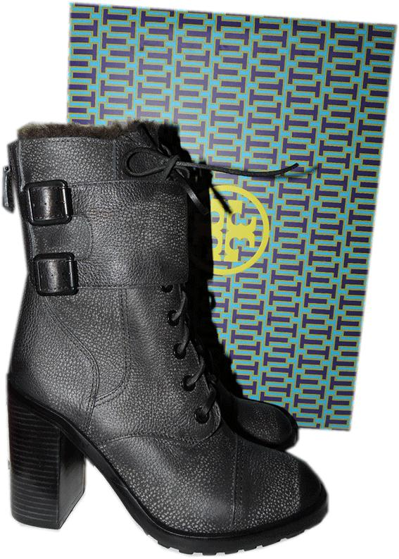 Tory Burch Broome Combat Boots With Shearling Fur Lining Booties 9