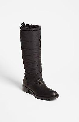 $675 Pedro Garcia Ocean Black Deer Leather Riding Boot Flat Puffer Bootie 40