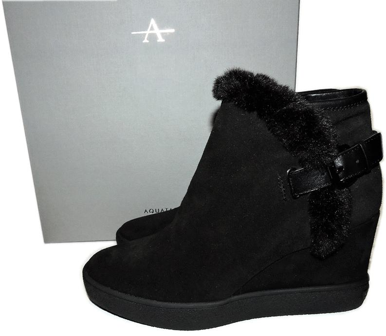 $450 Aquatalia Cameron Short Boots Black Suede Ankle Booties 9 - 39 Wedge Shoes