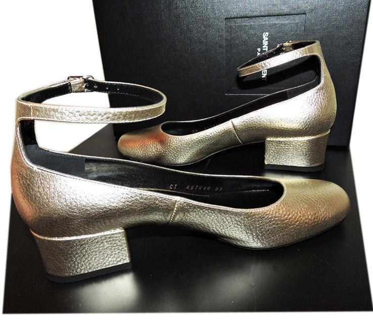 e0e80a82b14 Ysl Saint Laurent Pump Tango Babies Ankle Strap Shoe Logo Low Heel Metallic  37