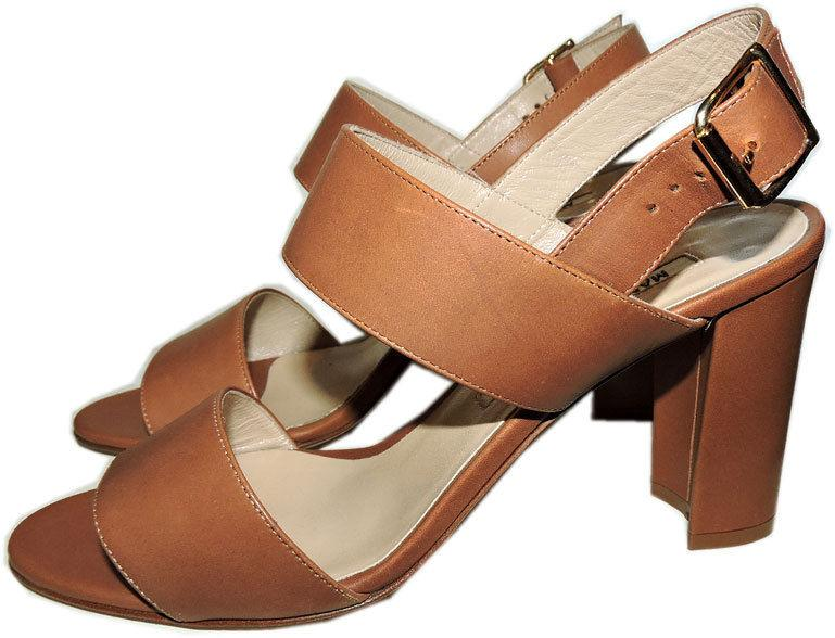 $780 Manolo Blahnik Khan Double-Strap Sandals Slingback Tan Leather Shoe 36.5