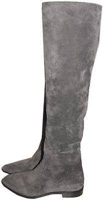 $1200 Prada Taupe- Grey Suede Pointy Toe Tall Knee Boot Zipper Flat Bootie 36.5