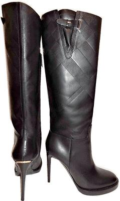 $1195 Burberry Becmead House Check Print Platform Black Tall Boots 39 Booties