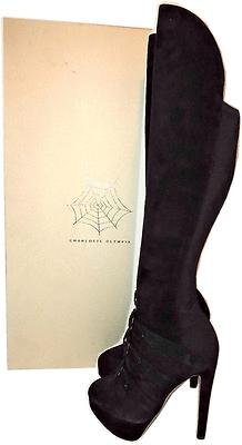 $1495 Charlotte Olympia Alda Over The Knee Stretch Boot Black Suede Booties 36