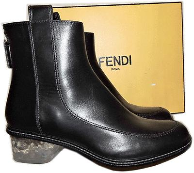 Fendi Chelsea Runway Black Boots Ice Heel Short Ankle Back Zipper Bootie 35