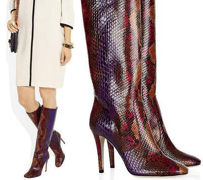 $2495 Jimmy Choo Python Tall Knee Boots Pointy Toe 38.5 Bootie Pump Burgundy
