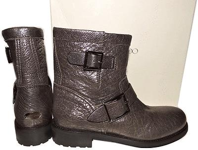 $1050 Jimmy Choo Metallic Leather Biker Youth Motorcycle Boot Ankle Bootie 36.5