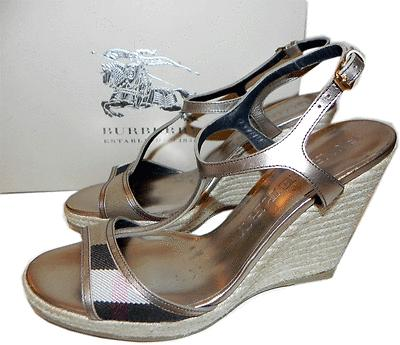 Burberry Espadrille Housecheck Sandal Metalic Leather Pump 39- 9 Wedge