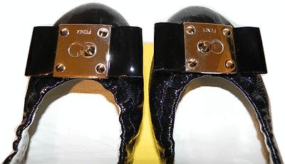Fendi Black Patent Leather Gold Logo Ballet Flats Bow 38- 7.5 Ballerina Shoes