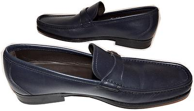 Salvatore Ferragamo Muller Gancini Bit Loafer Navy Leather Mocassins Shoes 8.5 D - Click Image to Close