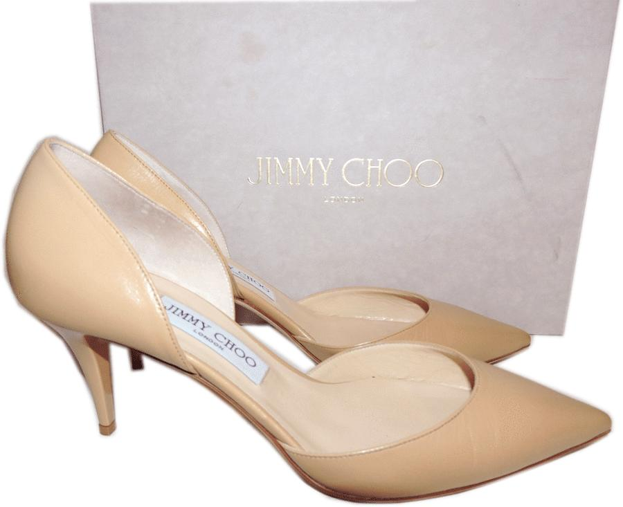Jimmy Choo Mariella Pointy Toe Pump Beige Nude Leather Low Heel D'orsay Shoe 39