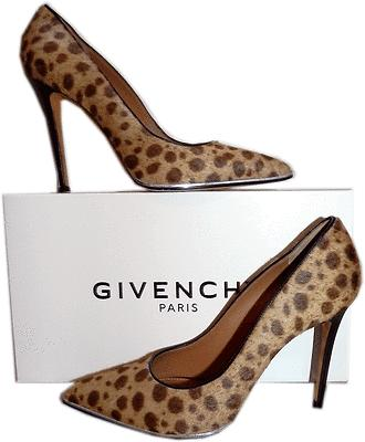 Givenchy Calf Hair Leopard Print Pumps Pointy Toe Silver Trim Bottom Shoe 40- 9