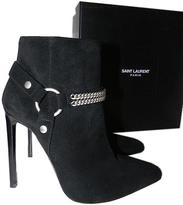 68b924f17ff $1495 Ysl Yves Saint Laurent Pointed Toe Chain Pump Bootie 40- 9 Ankle Boot