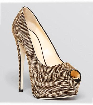 $1295 Giuseppe Zanotti Peep Toe Platform Pumps Sharon Gold Studded Shoe 38 -7.5