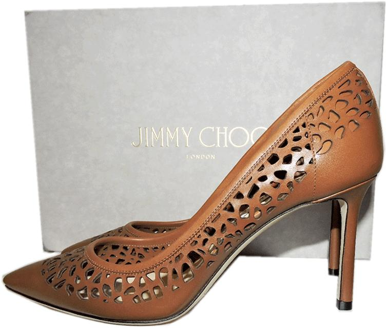 Jimmy Choo Romy Pointy Toe Laser Cut Out Pump Brown Heels Shoes 38