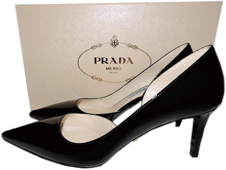 Prada Black Patent Leather Classic D'orsey Pointy Toe Pump Low Heel Shoe 36 - Click Image to Close
