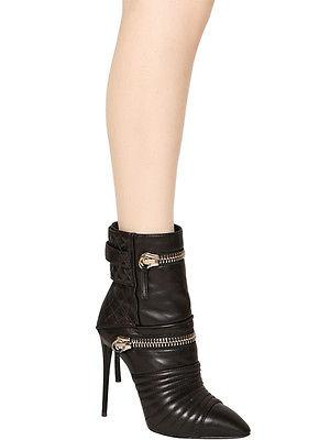 $1695 Giuseppe Zanotti Stiletto Black 110Mm Quilted Zipped Calf Ankle Boot 39