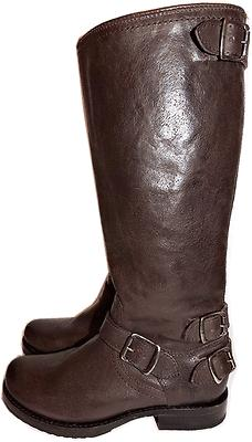 Frye Veronica Back Zip Tall Boot Brown Leather Riding Biker Moto Bootie 6.5