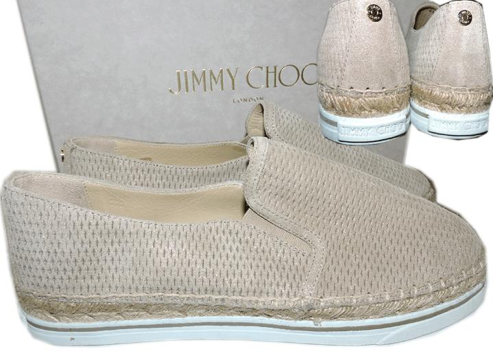 Jimmy Choo Dawn Perforated Suede Espadrille Wedge Shoe Skate Sneakers 41- 10