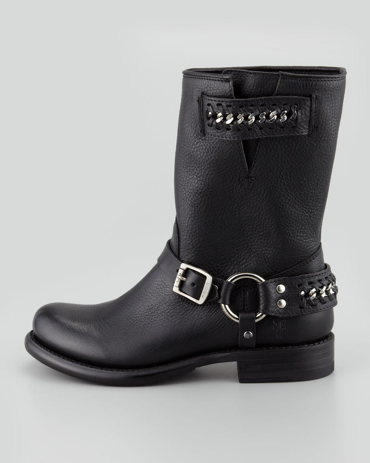 $438 Frye Jenna Chain Harness Stud Black Leather Boot Riding Cowboy Booties 6.5